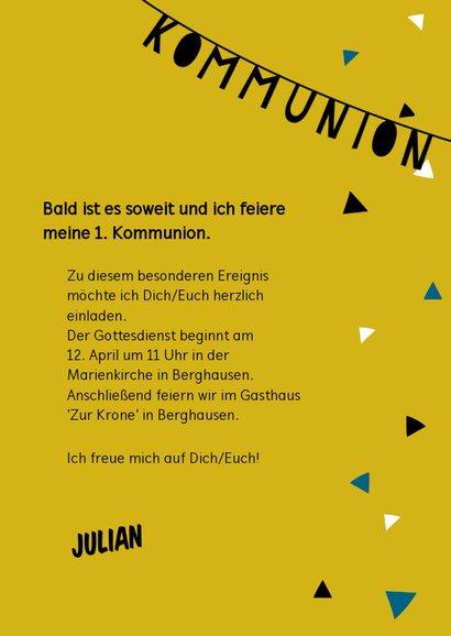 Einladung zur Kommunion Foto & Girlande gelb 3