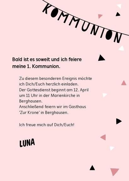 Einladung zur Kommunion Foto & Girlande rosa 3