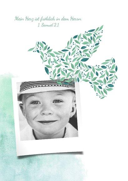 Einladung zur Kommunion Foto, Taube botanisch Wasserfarbe 2