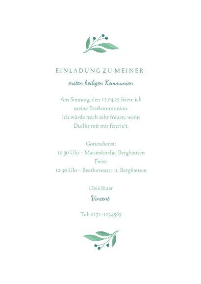 Einladung zur Kommunion Foto, Taube botanisch Wasserfarbe 3