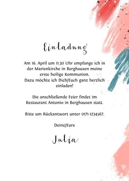Einladung zur Kommunion Foto und Farbstreifen blaurosa 3