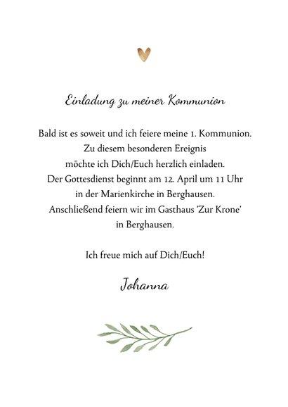 Einladung zur Kommunion Foto und Kreuz botanisch 3