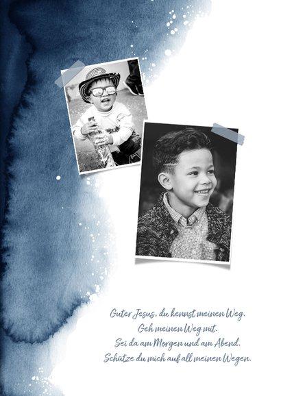 Einladung zur Kommunion Foto & Wasserfarbe dunkelblau 2