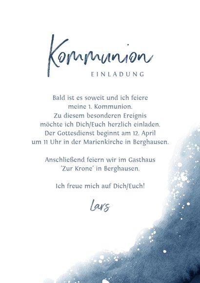 Einladung zur Kommunion Foto & Wasserfarbe dunkelblau 3