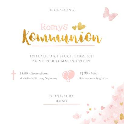 Einladung zur Kommunion Foto, Wasserfarbe & Goldlook rosa 3