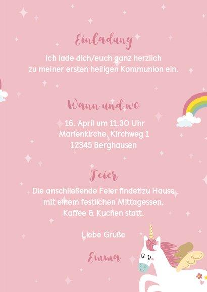 Einladung zur Kommunion Fotos & Einhorn 3