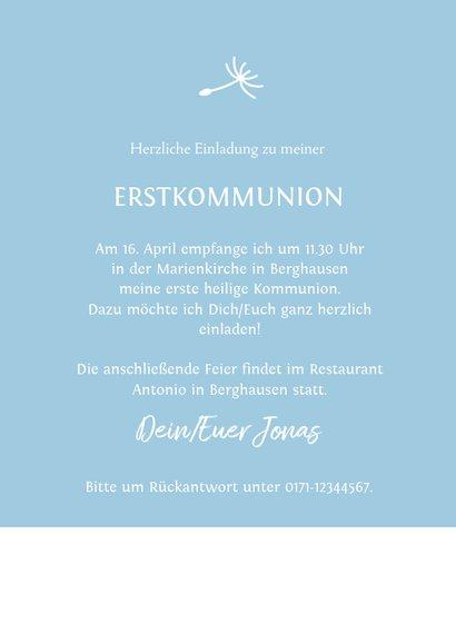 Einladung zur Kommunion Junge mit Pusteblume 3