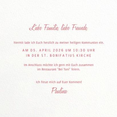 Einladung zur Kommunion mit Rosenmotiv 3