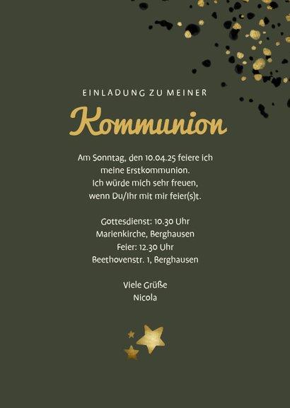Einladung zur Kommunion olivgrün mit Foto und Sternen 3