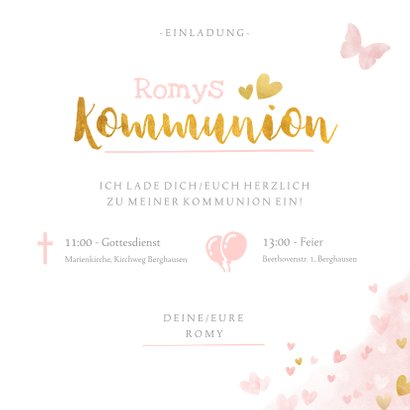 Einladung zur Kommunion rosa Aquarell mit Foto & Herzen 3