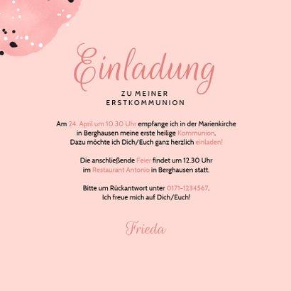 Einladung zur Kommunion rosa mit Foto 3