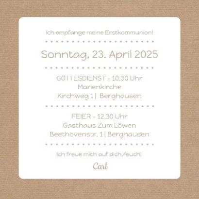Einladung zur Kommunion Scherenschnitt Junge Kraftpapier 3