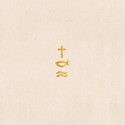 Einladung zur Kommunion Symbole in Gold Rückseite