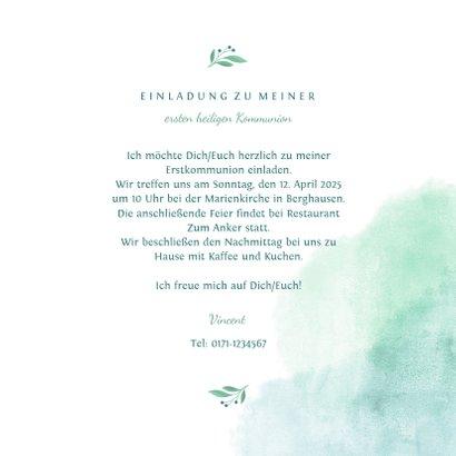 Einladung zur Kommunion Taube botanisch Wasserfarbe 3
