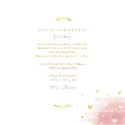 Einladung zur Kommunion Wasserfarbe rosa Taube 3
