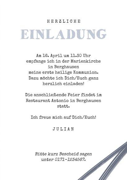 Einladung zur Kommunionsfeier Foto & graue Konfetti 3
