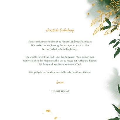 Einladung zur Konfirmation botanisch grün Foto innen 3