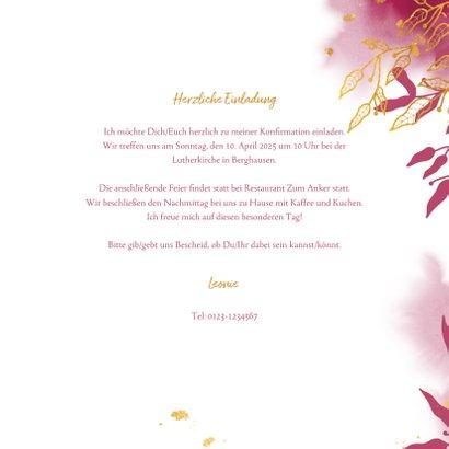 Einladung zur Konfirmation botanisch pink Foto innen  3
