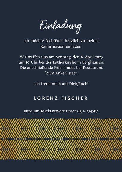 Einladung zur Konfirmation Foto Goldlook grafisch 3