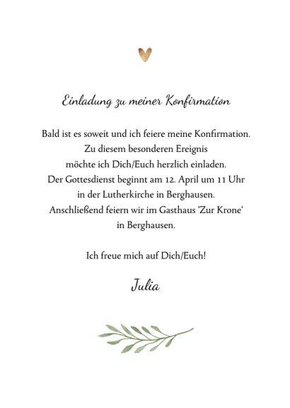 Einladung zur Konfirmation Foto und botanisches Kreuz 3