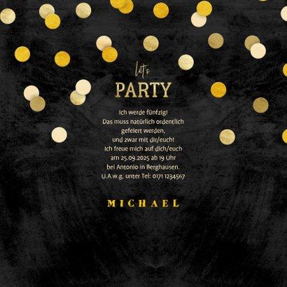 Einladung zur Party Goldene Konfetti 3