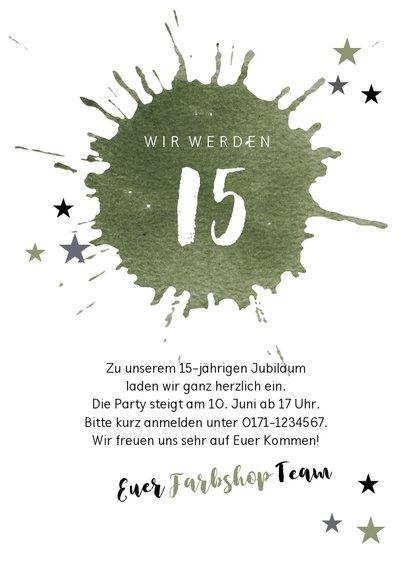 Einladung zur Party mit olivgrünem Farbklecks  3
