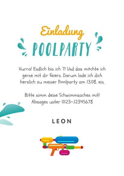 Einladung zur Poolparty mit Wasserpistole & Foto innen 3