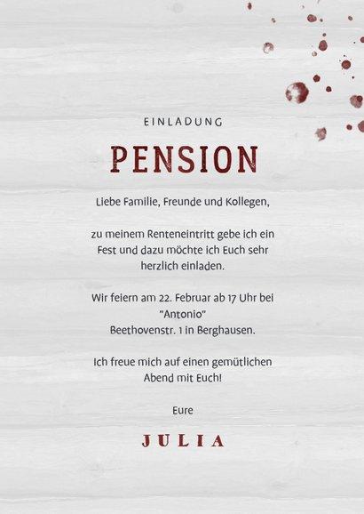 Einladung zur Rentnerfeier Weinglas mit Alter 3