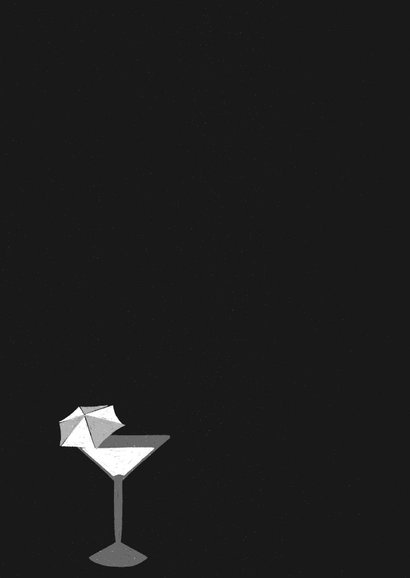 Einladung zur Schwarz-Weiß Mottoparty - Drinks Rückseite