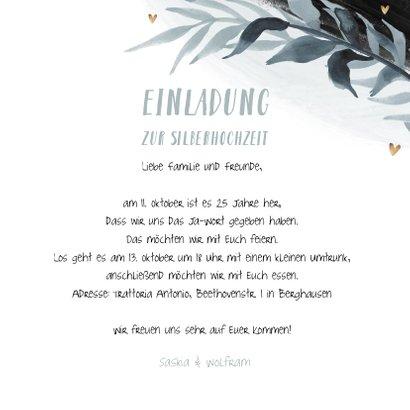 Einladung zur Silberhochzeit botanisch schwarz mit Foto 3