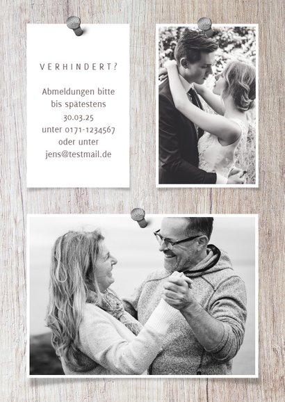 Einladung zur Silberhochzeit Fotocollage auf Holz 2