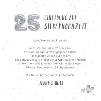 Einladung zur Silberhochzeit Fotocollage Silberballons 3