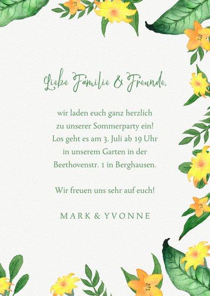 Einladung zur Sommerparty Blumen grüngelb 3