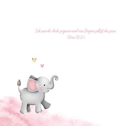 Einladung zur Taufe Aquarell mit Foto, Herzen und Elefant 2