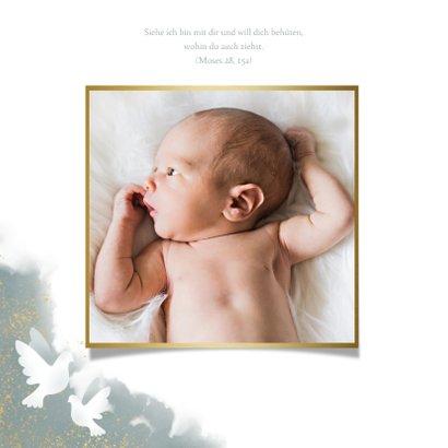 Einladung zur Taufe blau Aquarell mit Foto und Tauben 2