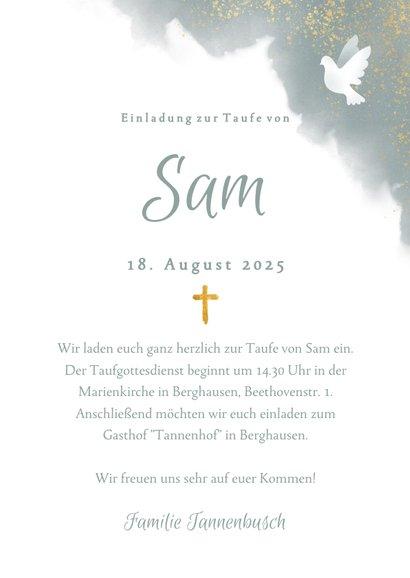 Einladung zur Taufe blau Aquarell mit Taube und Kreuz 3