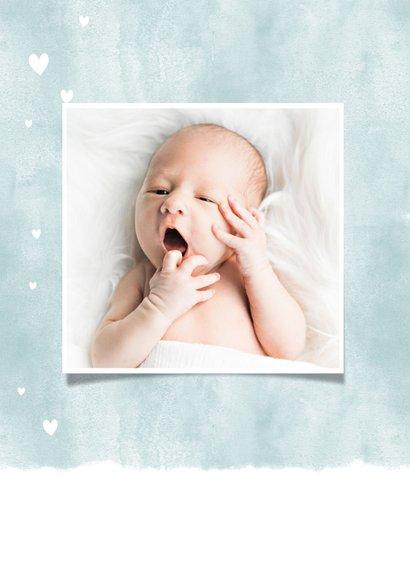Einladung zur Taufe blau mit Foto und Herzen 2