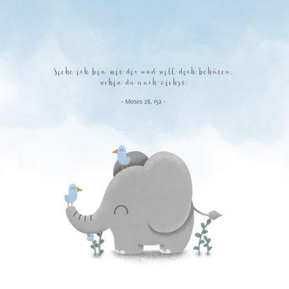 Einladung zur Taufe Elefant & Vögel blau 2