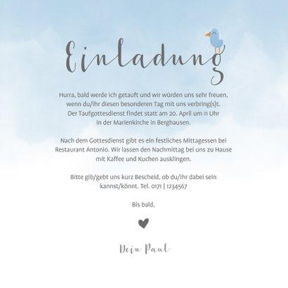 Einladung zur Taufe Elefant & Vögel blau 3