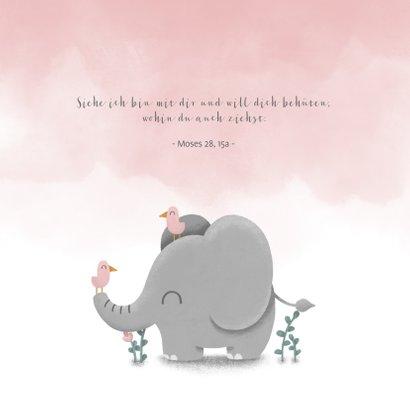 Einladung zur Taufe Elefant & Vögel rosa 2