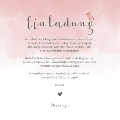 Einladung zur Taufe Elefant & Vögel rosa 3