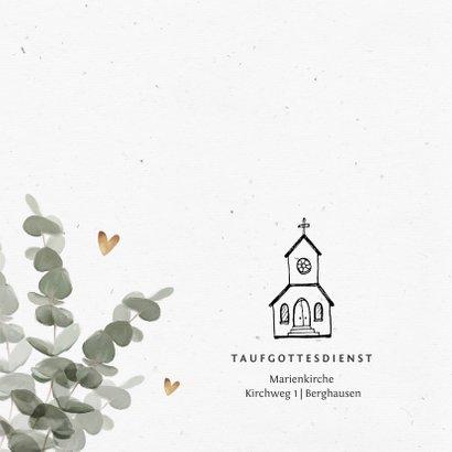 Einladung zur Taufe Eukalyptus, Fotos und Herzen 2