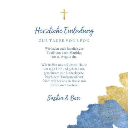 Einladung zur Taufe Foto metallic blau 3