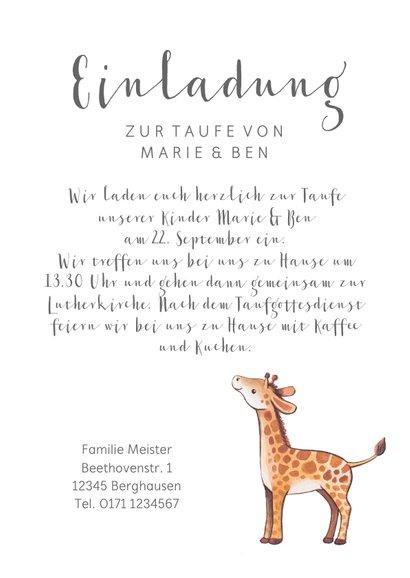Einladung zur Taufe Geschwister Giraffen im Blumenkranz 3