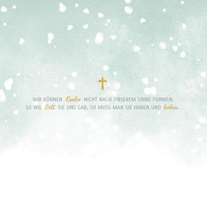 Einladung zur Taufe hellgrün Foto und Schneeflocken 2