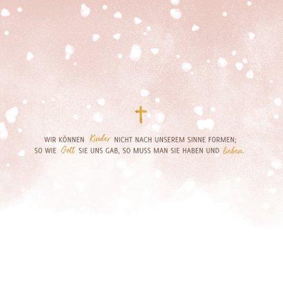 Einladung zur Taufe hellrosa Foto und Schneeflocken 2