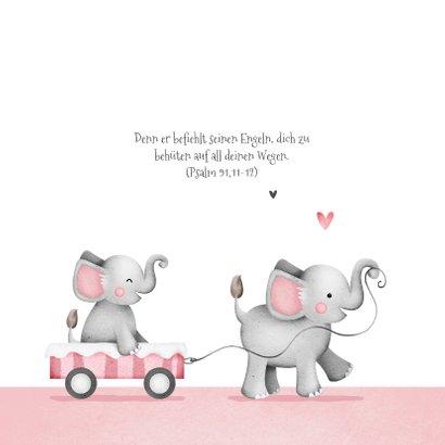 Einladung zur Taufe kleine Schwester Elefanten und Herzen 2