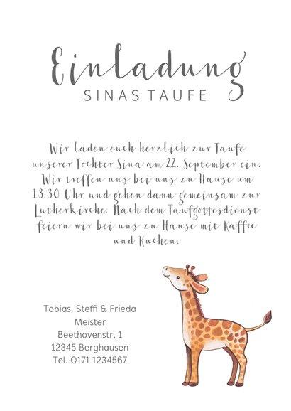 Einladung zur Taufe kleine Schwester Giraffen im Blumenkranz 3