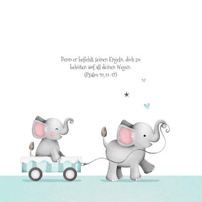 Einladung zur Taufe kleiner Bruder Elefanten und Herzen 2