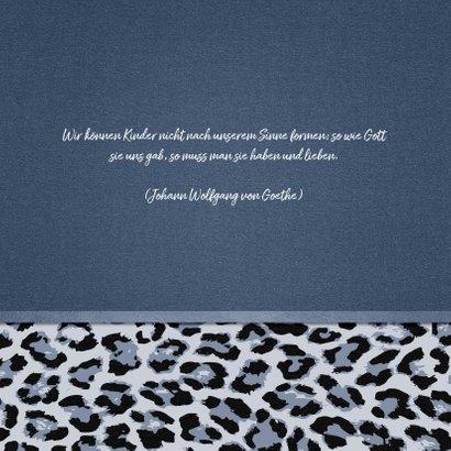 Einladung zur Taufe mit Foto und Leopardenmuster 2